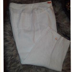 White Linen Capris